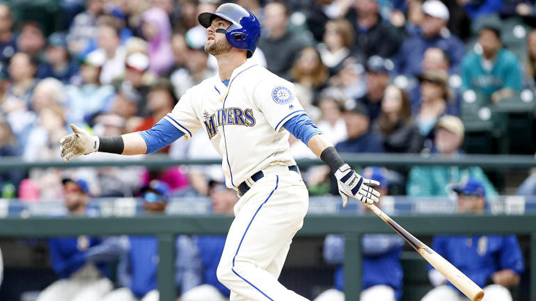 Apr 16, 2017; Seattle, WA, USA; Seattle Mariners right fielder Mitch Haniger (17) watches his three-run home run go over the center field fence against the Texas Rangers during the third inning at Safeco Field. Mandatory Credit: Jennifer Buchanan-USA TODAY Sports