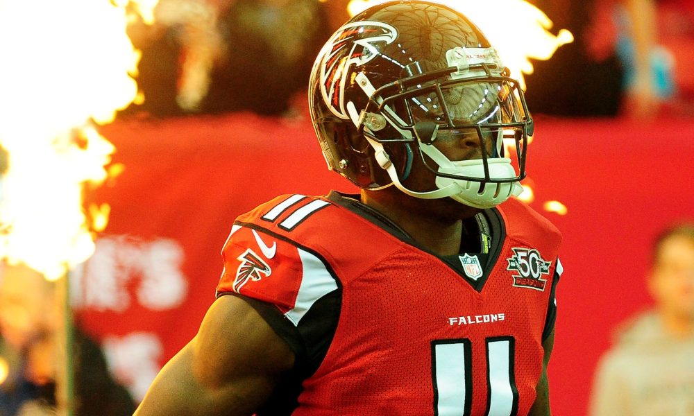 ATLANTA, GA - NOVEMBER 22:  Julio Jones #11 of the Atlanta Falcons is introduced prior to the game against the Indianapolis Colts at the Georgia Dome on November 22, 2015 in Atlanta, Georgia.  (Photo by Scott Cunningham/Getty Images)