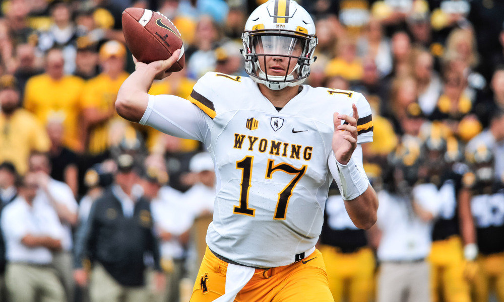 Sep 2, 2017; Iowa City, IA, USA; Wyoming Cowboys quarterback Josh Allen (17) throws a pass during the first quarter against the Iowa Hawkeyes at Kinnick Stadium. Mandatory Credit: Jeffrey Becker-USA TODAY Sports