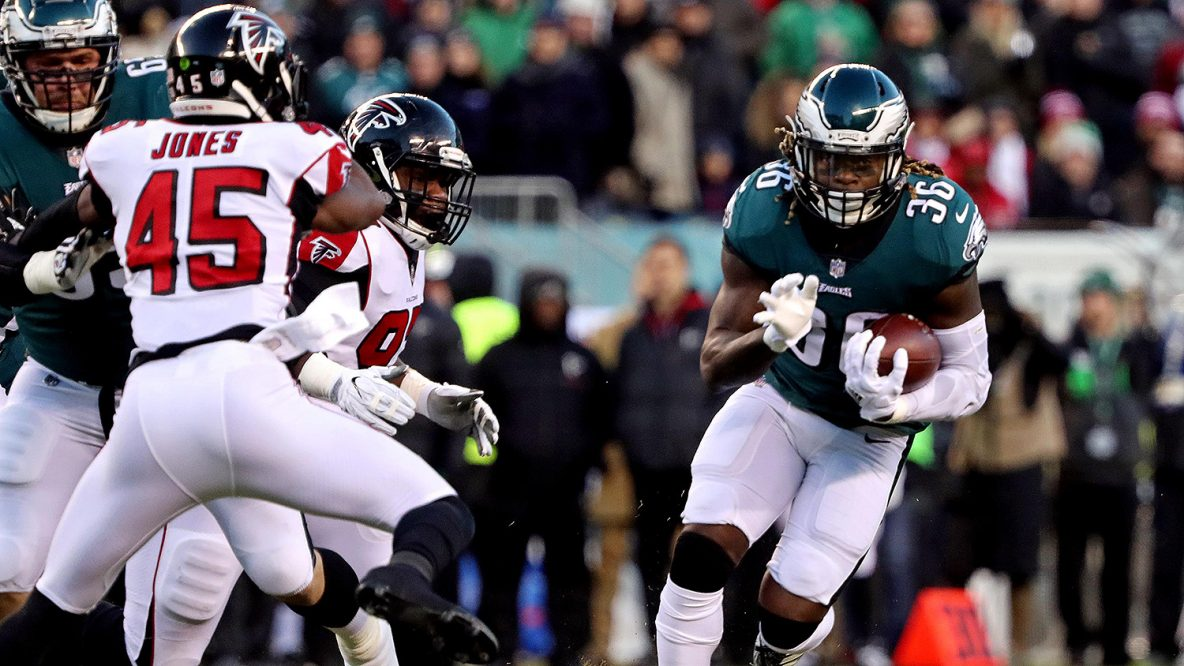 Jan 13, 2018; Philadelphia, PA, USA; Philadelphia Eagles running back Jay Ajayi (36) runs the ball against Atlanta Falcons middle linebacker Deion Jones (45) during the first quarter in the NFC Divisional playoff game at Lincoln Financial Field. Mandatory Credit: Bill Streicher-USA TODAY Sports